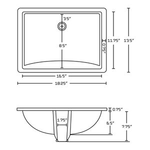 American Imaginations 18.25-in W Rectangle Undermount Sink Set With 3-Hole 8-in CTC CUPC Faucet Chrome/Biscuit