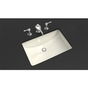 American Imaginations 20.75-in W Rectangle Undermount Sink Set With Deck Mount CUPC Faucet Chrome/Biscuit