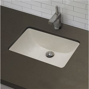 American Imaginations 20.75-in W Rectangle Undermount Sink Set With 1-Hole CUPC Faucet Chrome/Biscuit