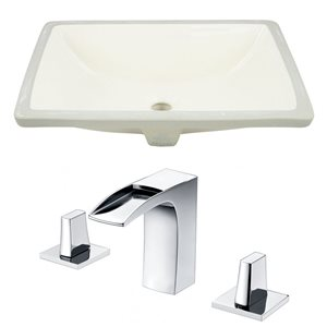 American Imaginations 20.75-in W Rectangle Undermount Sink Set With 3-Hole 8-in CTC CUPC Faucet Chrome/Biscuit