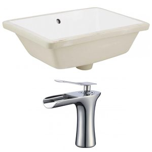 American Imaginations 18.25-in W Rectangle Undermount Sink Set With 1-Hole CUPC Faucet Chrome/White