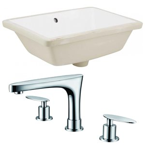 18.25-in W Rectangle Undermount Sink Set With 3 Hole 8-in CTC CUPC Faucet