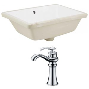 18.25-in W Rectangle Undermount Sink Set With Deck Mount CUPC Faucet