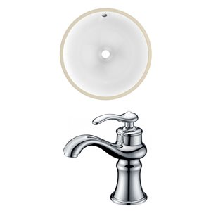 American Imaginations White 18.25-in CUPC Ceramic Oval Undermount Sink Set With Chrome Faucet
