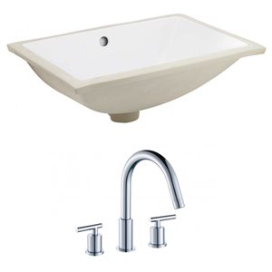 20.75-in W Rectangle Undermount Sink Set With 3 Hole 8-in CTC CUPC Faucet