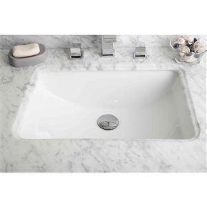 American Imaginations 20.75-in W Rectangle Undermount Sink Set With Deck Mount CUPC Faucet White