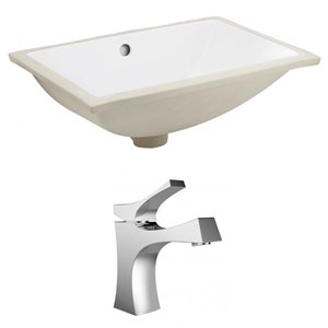 20.75-in W Rectangle Undermount Sink Set With 1 Hole CUPC Faucet