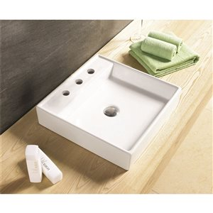 American Imaginations 17.5-in W Square Above Counter Vessel Set With 3 Hole 8-in CTC Center Faucet