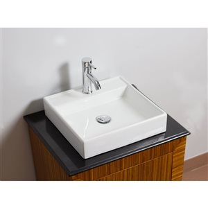 American Imaginations 17.5-in W Square Above Counter Vessel Set With 1 Hole Center Faucet