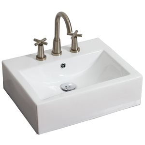 American Imaginations 20.25-in W Rectangle Vessel Set With 3 Hole 8-in CTC Center Faucet White