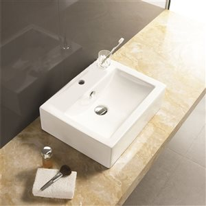 American Imaginations 20.25-in W Rectangle Semi-Recessed Vessel Set With 1 Hole Center Faucet White