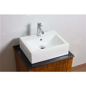 American Imaginations 20.25-in W Rectangle Above Counter Vessel Set With 1 Hole Center Faucet White