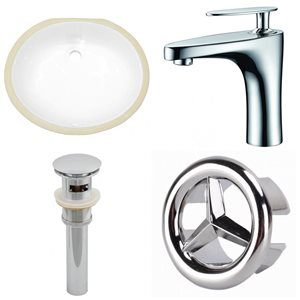 19.5-in W CUPC Oval Undermount Sink Set With 1 Hole CUPC Faucet