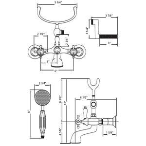 Cheviot Tub/Wall Mount Faucet for Clawfoot Bathtub - Antique Bronze