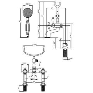 Cheviot Clawfoot Bathtub Filler for Rim Mount Application - Brass