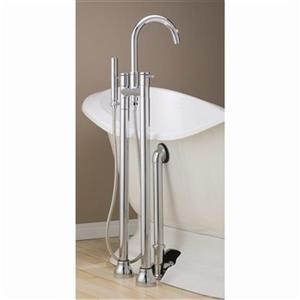 Cheviot Contemporary Clawfoot Tub and Shower Filler - Chrome