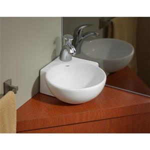 Cheviot Corner Wall-Mount Vessel Bathroom Sink - White