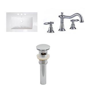 "American Imaginations Roxy Ceramic Top Set - Single Sink - 23.75"" - White"