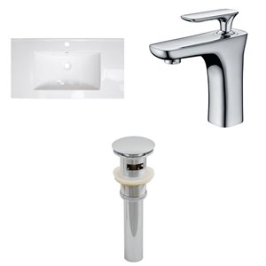 "American Imaginations Flair Ceramic Top Set - Single Sink - 32"" - White"