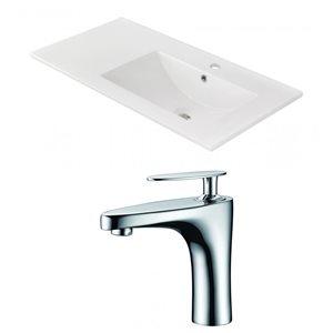 "American Imaginations Ceramic Top Set - Single Sink - 35.5"" - White"