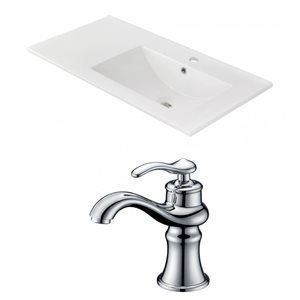 "American Imaginations Ceramic Top Set - Single Sink - 35.5"" - White"