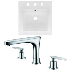 "American Imaginations Ceramic Top Set - Single Sink - 16.5"" - White"