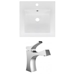 "American Imaginations Ceramic Top Set - Single Sink - 16.5"" - White"
