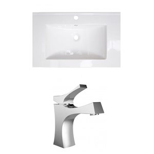 "American Imaginations Vee Ceramic Top Set - Single Sink - 30"" - White"