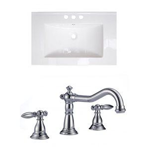 "American Imaginations Vee Ceramic Top Set - Single Sink - 30"" - White"