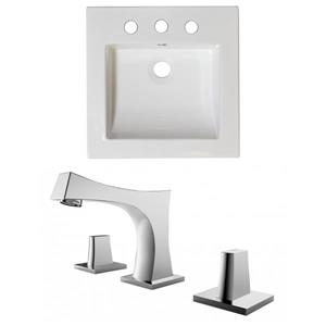 "American Imaginations Nikki Ceramic Top Set - Single Sink - 21.5"" - White"