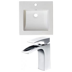 "American Imaginations Nikki Ceramic Top Set - Single Sink - 21.5"" - White"