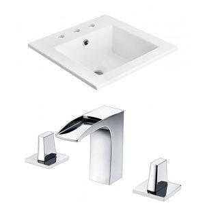 "American Imaginations Ceramic Top Set - Single Sink - 21"" - White"