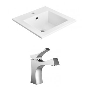 "American Imaginations Ceramic Top Set - Single Sink - 21"" - White"