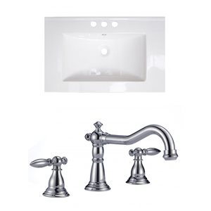 "American Imaginations Roxy Ceramic Top Set - Single Sink - 30"" - White"