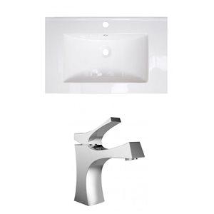 "American Imaginations Roxy Ceramic Top Set - Single Sink - 30"" - White"