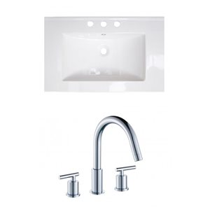 "American Imaginations Flair Ceramic Top Set - Single Sink - 23.75"" - White"