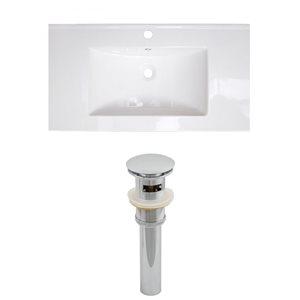 "American Imaginations Flair Ceramic Top Set - Single Sink - 36.75"" - White"