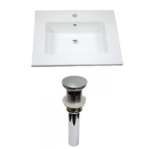 "American Imaginations Flair Ceramic Top Set - Single Sink - 25"" - White"