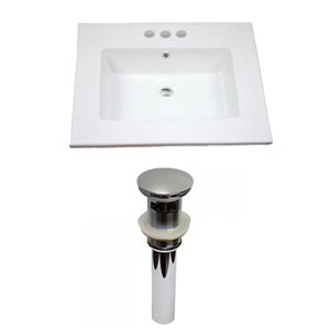 "American Imaginations Flair Ceramic Top Set - Single Sink - 25"" - White"