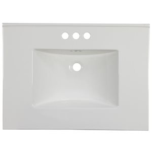 "American Imaginations Flair Ceramic Top Set - Single Sink - 30.75"" - White"