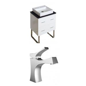 "American Imaginations Xena Quartz Vanity Set  - Single Sink - 24"" - White"