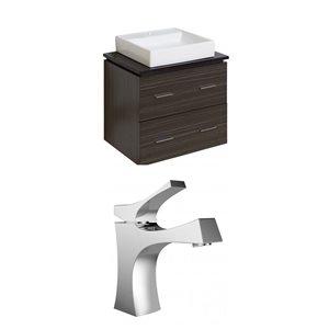 "American Imaginations Xena Quartz Vanity Set  - Single Sink - 24"" - Gray"