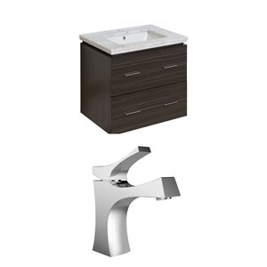 "American Imaginations Xena Vanity Set  - Single Sink - 23.75"" - Gray"