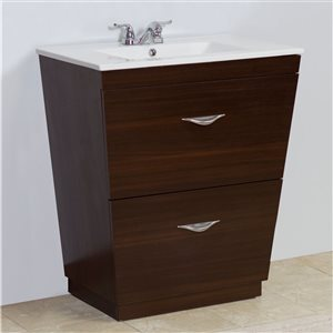 """American Imaginations Vee Vanity Set  - Single Sink - 21"""" - Brown"""