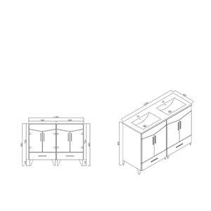 """American Imaginations Zen Vanity Base Set - 48"""" - Gray"""