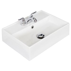 """American Imaginations Above Counter Vessel for 3H4-in. Drilling - 19.75"""" - White"""