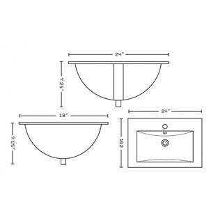 "American Imaginations Ceramic Top Set - Single Sink - 24"" - White"