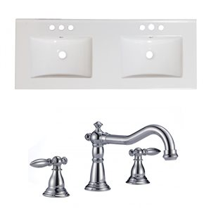 "American Imaginations Xena Ceramic Top Set - Double Sink - 59"" - White"