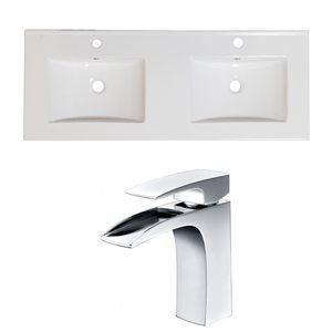 "American Imaginations Xena Ceramic Top Set - Double Sink - 59"" - White"