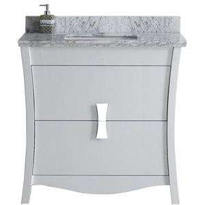 "American Imaginations Bow Vanity Set  - Single Sink - 36"" - White"